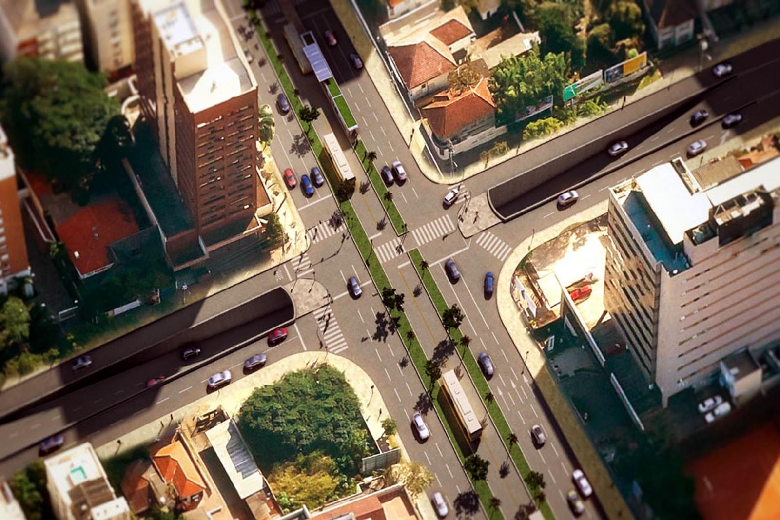 """Trincheira da Anita: imagem divulgada usa """"trânsito de domingo"""" como exemplo e, não surpreendentemente, não mostra pedestres."""