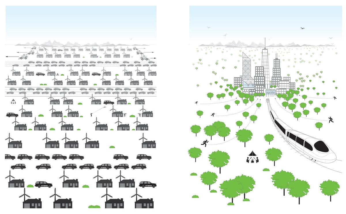 """""""Hiperdensidade deixa a natureza natural."""", imagem de Vishaan Chakrabarti. Este é o caso da cidade de Hong Kong, que possui apenas 5% da sua área construída."""