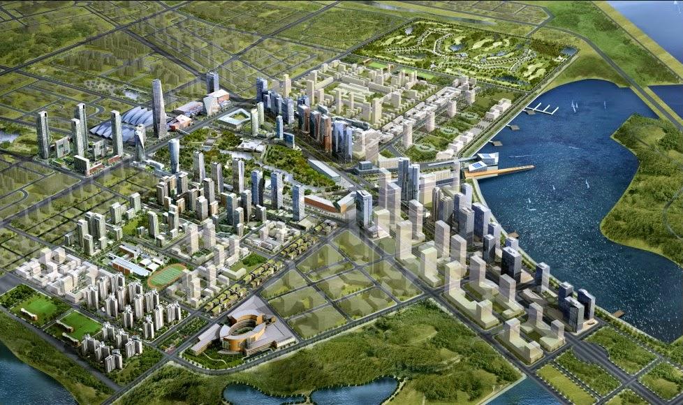 """""""...quanto mais precisa e compreensível é a sua imagem de uma cidade, menos provável que o lugar que você está imaginando é realmente uma cidade."""" A imagem é uma renderização de Songdo uma """"cidade"""" planejada na Coréia do Sul."""