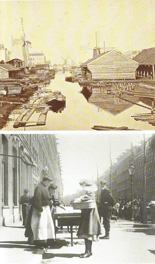 A transformação do Zaagmolensloot de maior complexo industrial da zona sul da cidade, em 1870, para bairro urbanizado em 1880.