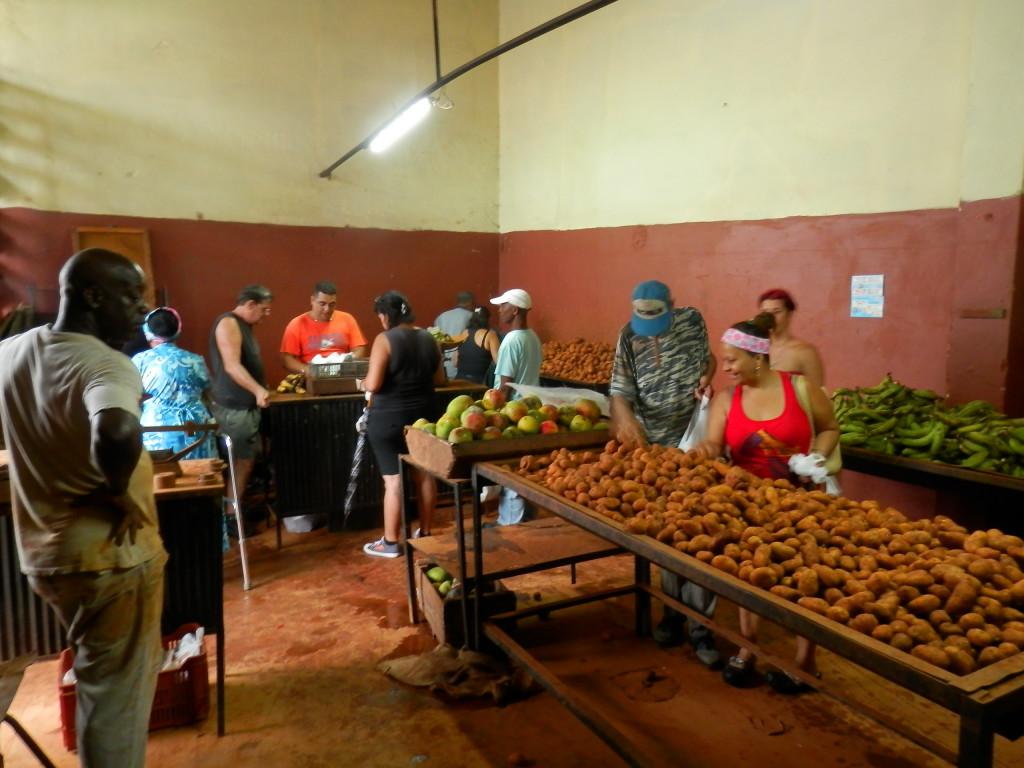 """Um """"mercado"""" que só vende mangas, bananas e batatas."""