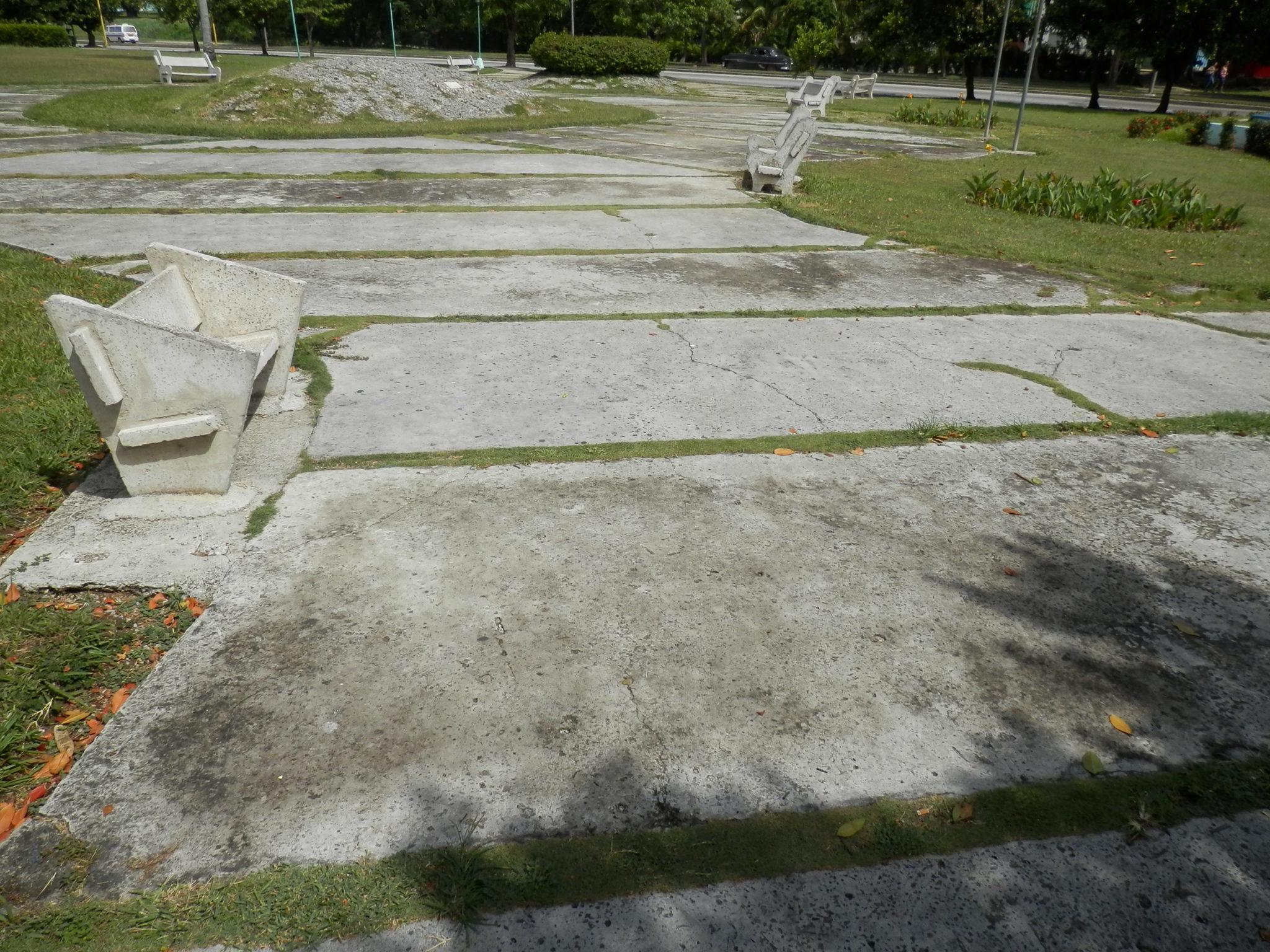 Parques preenchidos por concreto.