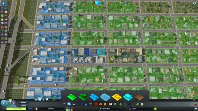 Zoneamento no Cities: Skylines. Comercial de baixa densidade em azul claro, comercial de alta densidade em azul escuro, residencial em verde.