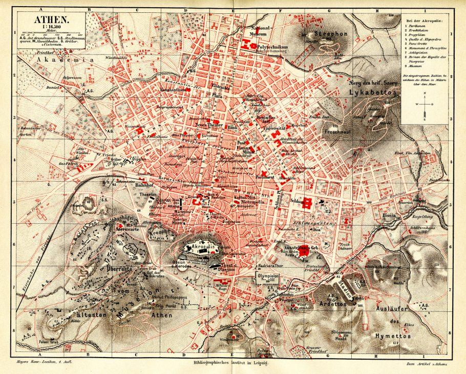 Plano urbano de Atenas, datado de 1884. Imagem extraída enciclopédia alemã Meyers. (Fonte: Martin Baldwin-Edwards/Creative Commons)