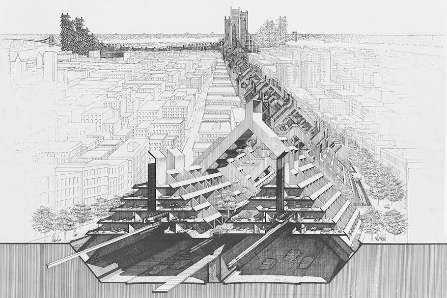 Projeto Lower Manhattan Expressway em perspectiva. Exemplo de ativismo urbano, uma das forma de trabalhar com urbanismo.