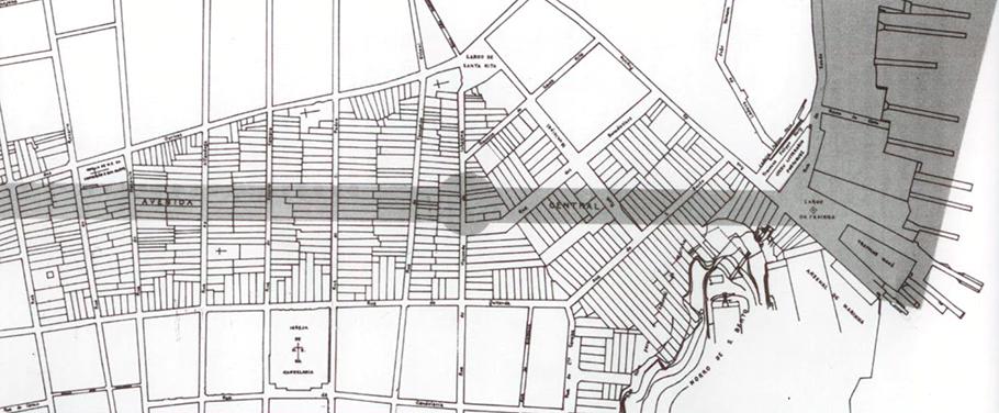 Detalhe do Projeto da Avenida Central (atual Rio Branco), que removeu inúmeros cortiços.