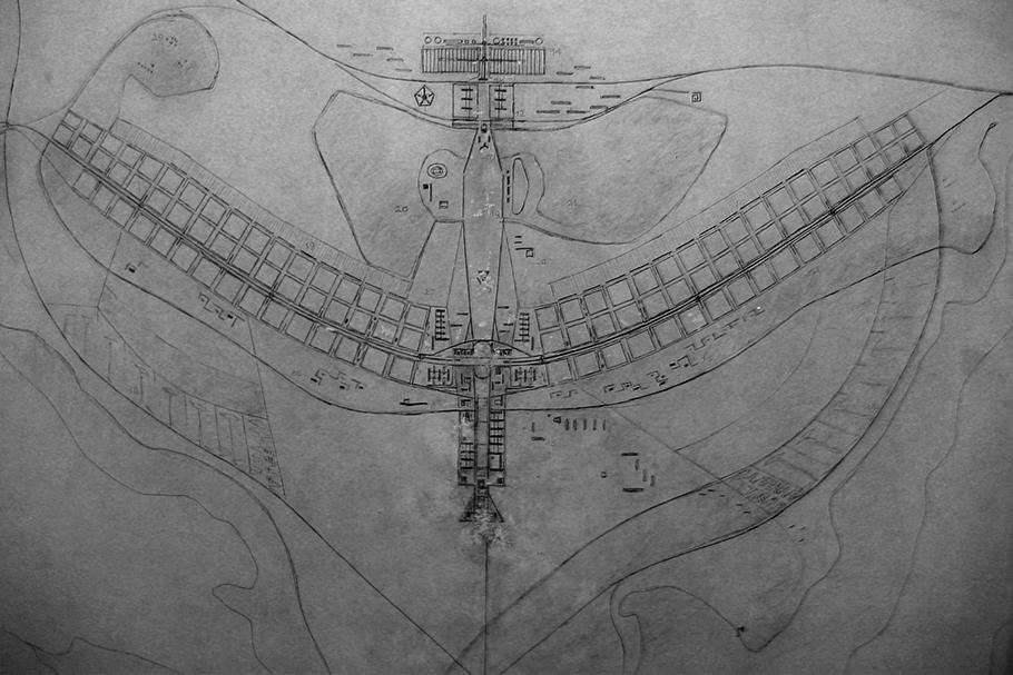 Esboço do projeto piloto de Brasília, por Lúcio Costa