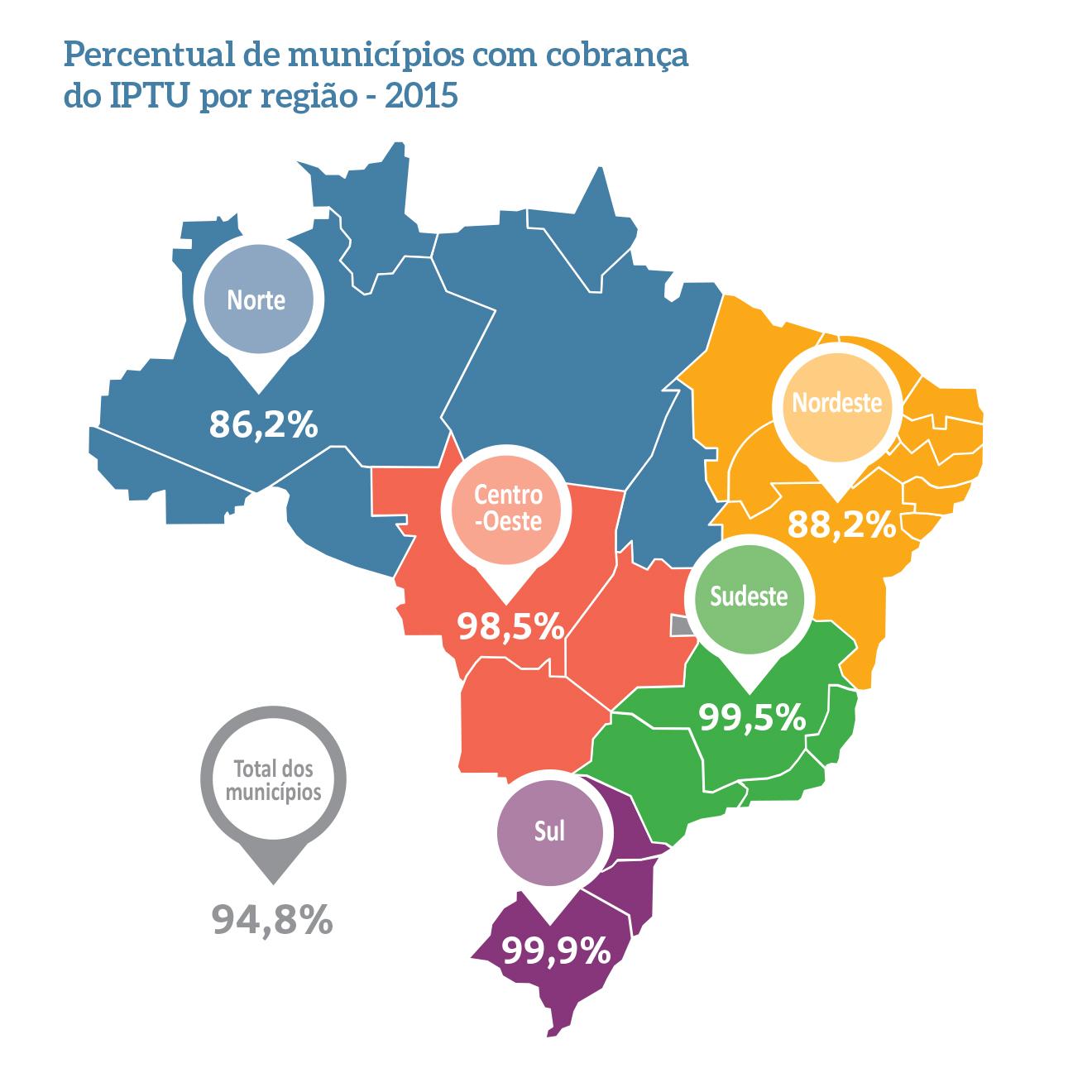 Mapa de municípios que cobram IPTU