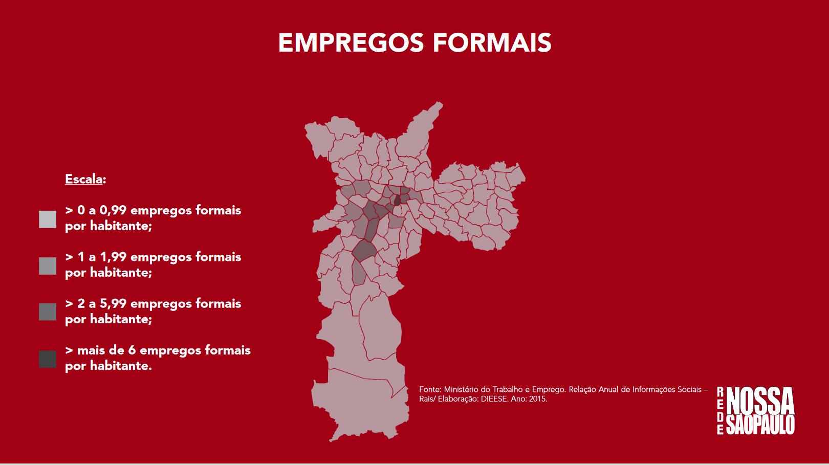 Mapa da distribuição dos empregos formais na cidade de São Paulo.