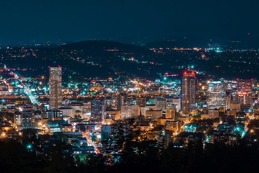 Imagem aérea de Portland, Oregon.