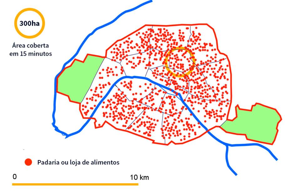 Mapa da localização de padarias e lojas de alimentos em Paris.