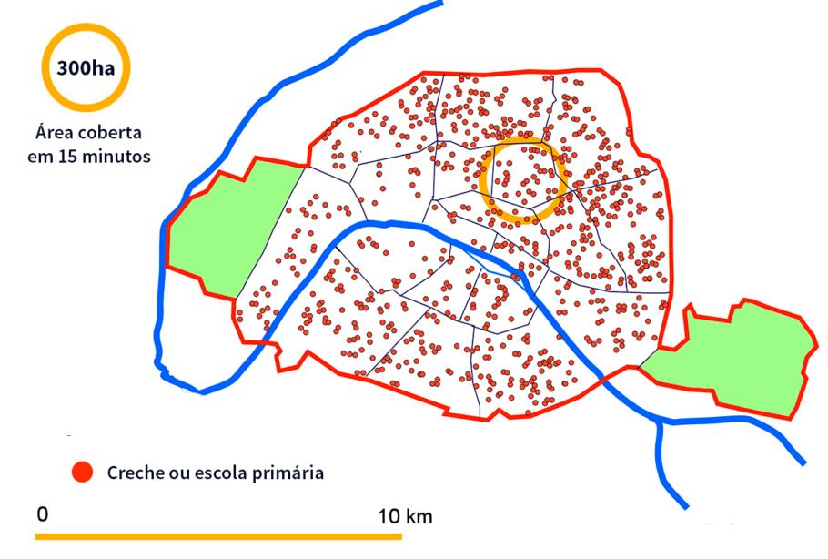 Mapa da localização de creches e escolas primárias em Paris.